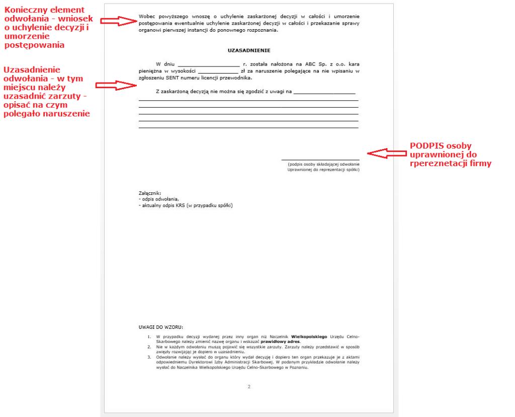 Odwołanie oddecyzji SENT - strona 2